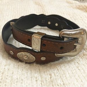 LEATHER PATTERN BELT WITH BUCKLE M